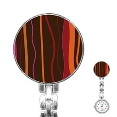 Colorful Striped Background Stainless Steel Nurses Watch