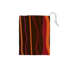 Colorful Striped Background Drawstring Pouches (Small)