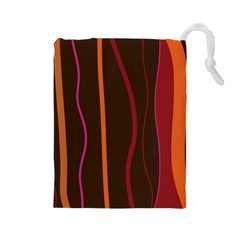 Colorful Striped Background Drawstring Pouches (Large)