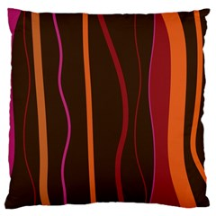 Colorful Striped Background Large Flano Cushion Case (Two Sides)