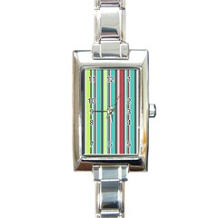 Colorful Striped Background. Rectangle Italian Charm Watch