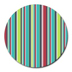 Colorful Striped Background. Round Mousepads