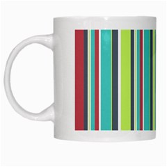 Colorful Striped Background. White Mugs