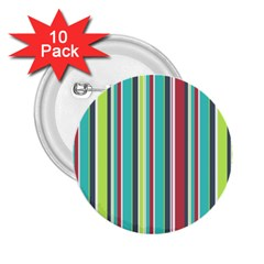 Colorful Striped Background. 2.25  Buttons (10 pack)