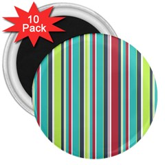 Colorful Striped Background. 3  Magnets (10 pack)