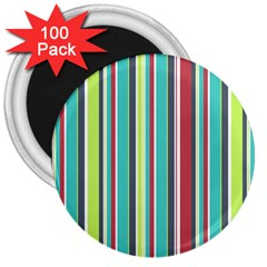 Colorful Striped Background. 3  Magnets (100 pack)
