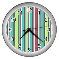 Colorful Striped Background. Wall Clocks (Silver)
