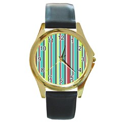 Colorful Striped Background. Round Gold Metal Watch