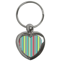 Colorful Striped Background. Key Chains (Heart)