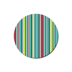 Colorful Striped Background. Rubber Coaster (Round)