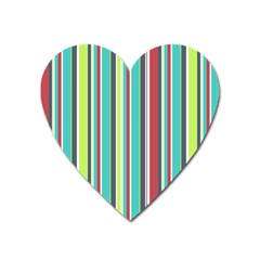 Colorful Striped Background. Heart Magnet