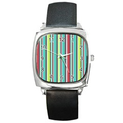 Colorful Striped Background. Square Metal Watch