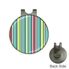 Colorful Striped Background. Hat Clips with Golf Markers