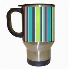 Colorful Striped Background. Travel Mugs (White)