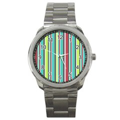 Colorful Striped Background. Sport Metal Watch