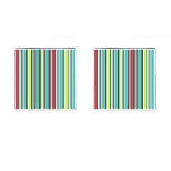 Colorful Striped Background. Cufflinks (Square)
