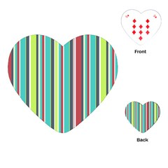 Colorful Striped Background. Playing Cards (Heart)