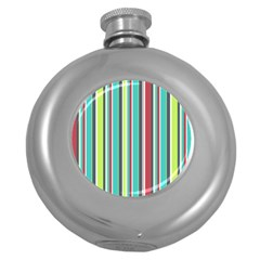 Colorful Striped Background. Round Hip Flask (5 oz)