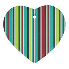 Colorful Striped Background. Heart Ornament (Two Sides)