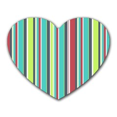 Colorful Striped Background. Heart Mousepads