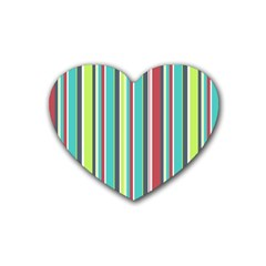 Colorful Striped Background. Heart Coaster (4 pack)