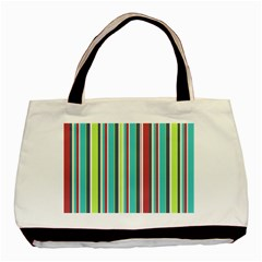 Colorful Striped Background. Basic Tote Bag (Two Sides)