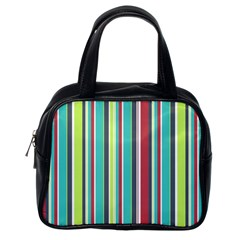Colorful Striped Background. Classic Handbags (One Side)