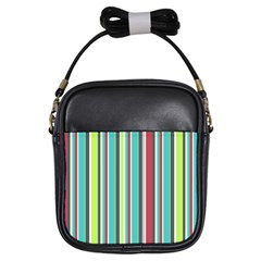 Colorful Striped Background. Girls Sling Bags