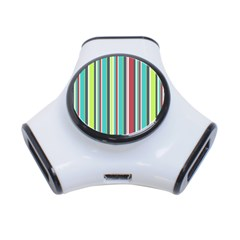 Colorful Striped Background. 3-Port USB Hub