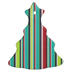 Colorful Striped Background. Christmas Tree Ornament (Two Sides)