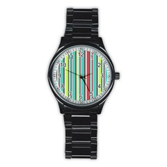 Colorful Striped Background. Stainless Steel Round Watch