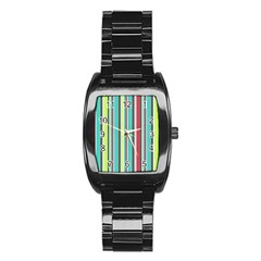 Colorful Striped Background. Stainless Steel Barrel Watch