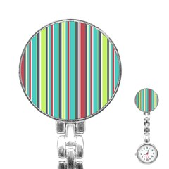 Colorful Striped Background. Stainless Steel Nurses Watch