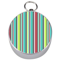 Colorful Striped Background. Silver Compasses