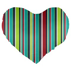 Colorful Striped Background. Large 19  Premium Flano Heart Shape Cushions