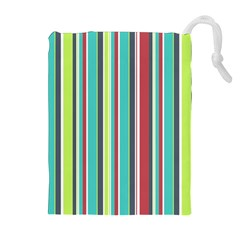 Colorful Striped Background. Drawstring Pouches (Extra Large)