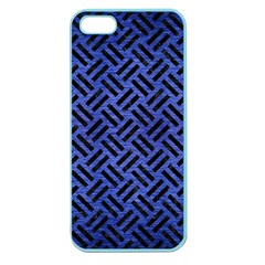 Woven2 Black Marble & Blue Brushed Metal (r) Apple Seamless Iphone 5 Case (color)