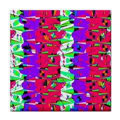 Colorful Glitch Pattern Design Tile Coasters
