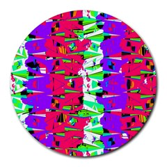 Colorful Glitch Pattern Design Round Mousepads