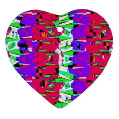 Colorful Glitch Pattern Design Ornament (Heart)