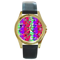 Colorful Glitch Pattern Design Round Gold Metal Watch
