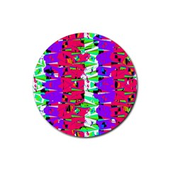 Colorful Glitch Pattern Design Rubber Coaster (Round)