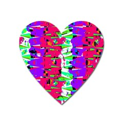 Colorful Glitch Pattern Design Heart Magnet