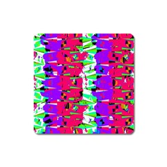 Colorful Glitch Pattern Design Square Magnet