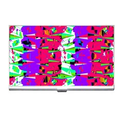 Colorful Glitch Pattern Design Business Card Holders