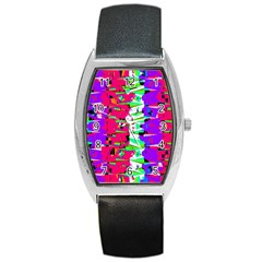 Colorful Glitch Pattern Design Barrel Style Metal Watch