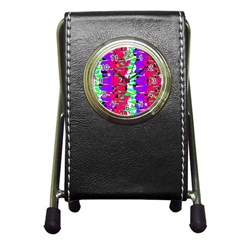 Colorful Glitch Pattern Design Pen Holder Desk Clocks