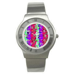 Colorful Glitch Pattern Design Stainless Steel Watch