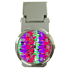 Colorful Glitch Pattern Design Money Clip Watches