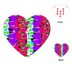 Colorful Glitch Pattern Design Playing Cards (Heart)